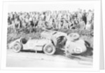 Two crashed cars from the Singer Nine team, possibly at a TT race by Anonymous