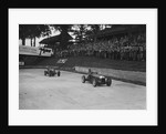 Maserati leading Charles Mortimer's Bugatti Type 35B at Brooklands, Surrey, 1939 by Bill Brunell