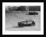 Lagonda and Alfa Romeo on the banking at the JCC Double Twelve Race, Brooklands, Surrey, 1929 by Bill Brunell