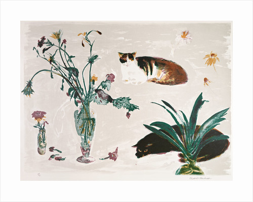 Cats and Flowers 1980 by Elizabeth Blackadder