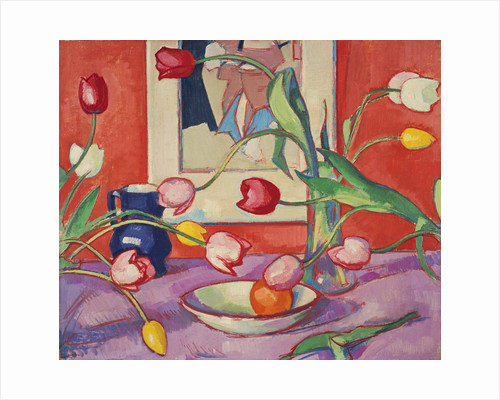 Tulips - The Blue Jug by Samuel John Peploe