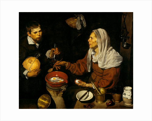 An Old Woman Cooking Eggs by Diego Rodriguez de Silva y Velazquez