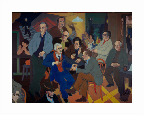 Poets' Pub (Norman MacCaig, Sorley MacLean, Hugh MacDiarmid, Iain Crichton Smith, George Mackay Brown, Sidney Goodsir Smith, Edwin Morgan, Robert Garioch, Alan Bold and John A. Tonge) by Alexander Sandy Moffat