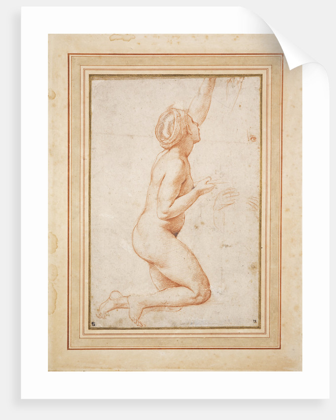 A Kneeling Nude Woman with her Left Arm Raised by Raphael (Raffaello Santi)
