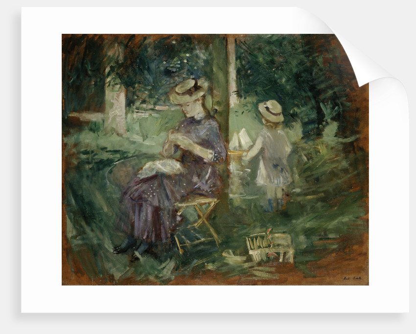 A Woman and Child in a Garden by Berthe Morisot