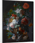 Flower Still Life with Bird's Nest by Jan Van Huysum