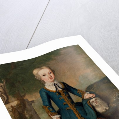 Alexander (Sandy) Brodie, later 20th laird, as a child with a dog by Charles Phillips