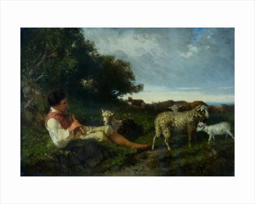 A shepherd boy and sheep by Giuseppe Palizzi