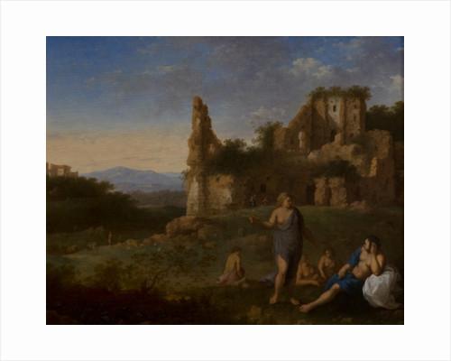 Nymphs by a ruin by Cornelis Van Poelenburgh