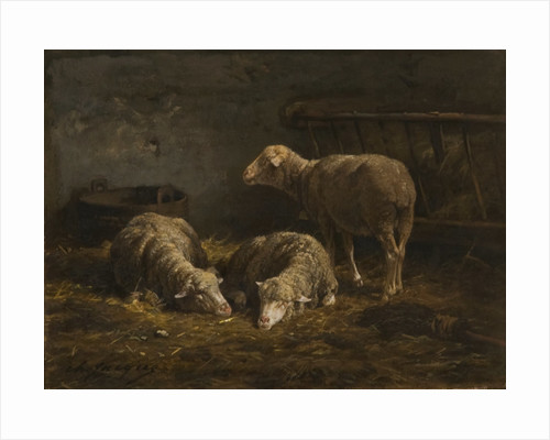 Three Sheep in a Barn by Charles Emile Jacques