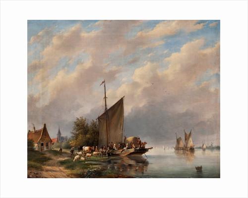 A Dutch River Scene by Gerardus Hendricks
