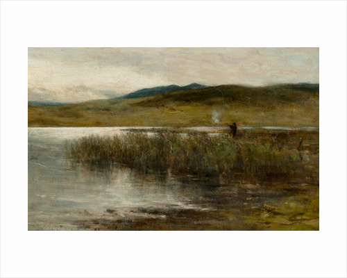 Loch Spynie with a figure wild fowling by Sir George Reid