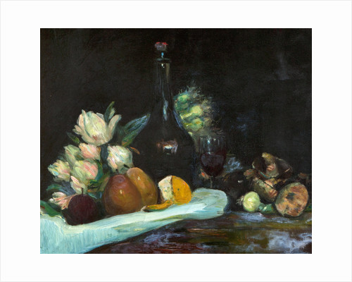 Still-life with wine bottle, glass, fruit and flowers by George Leslie Hunter