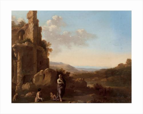 Nymphs Bathing in classical landscape by Cornelis Van Poelenburgh