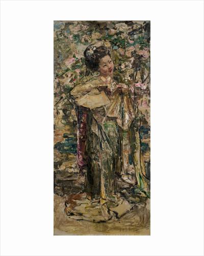 A Geisha Girl holding a fan, c.1921-25 by Edward Atkinson Hornel