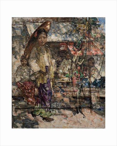 Burmese Girls and Market Stalls, c.1922-27 by Edward Atkinson Hornel