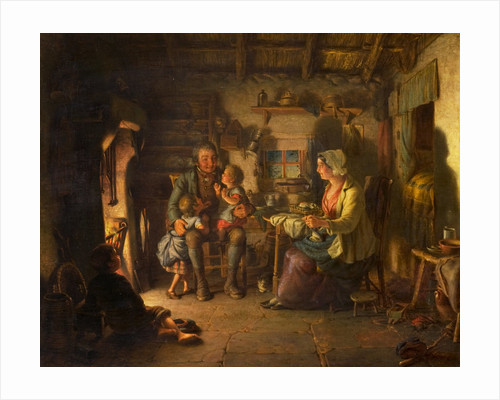 Edrien Cockburn Burns in Cottage scene, 1860 by Edrien Cockburn