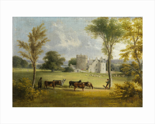 View of Drum Castle with Cattle by Scottish School