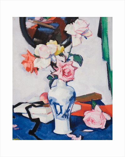 Still Life with Roses and Mirror by Samuel John Peploe