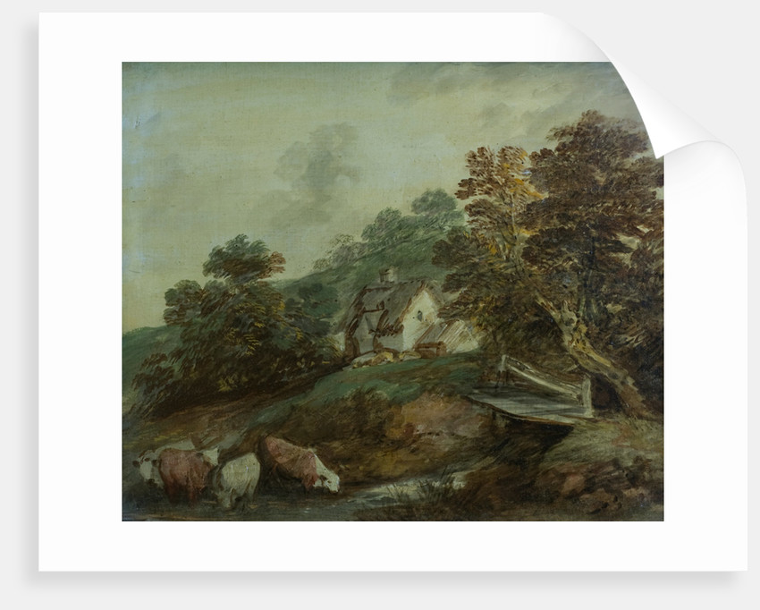 Cattle watering in a stream by Thomas Gainsborough