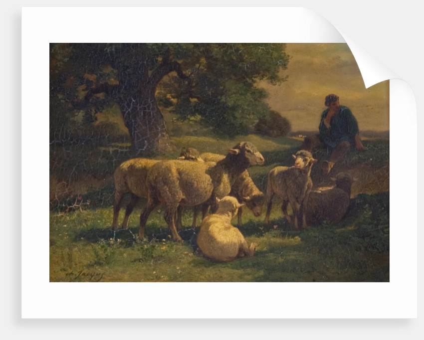 A Shepherd Boy and Sheep by Charles Emile Jacques