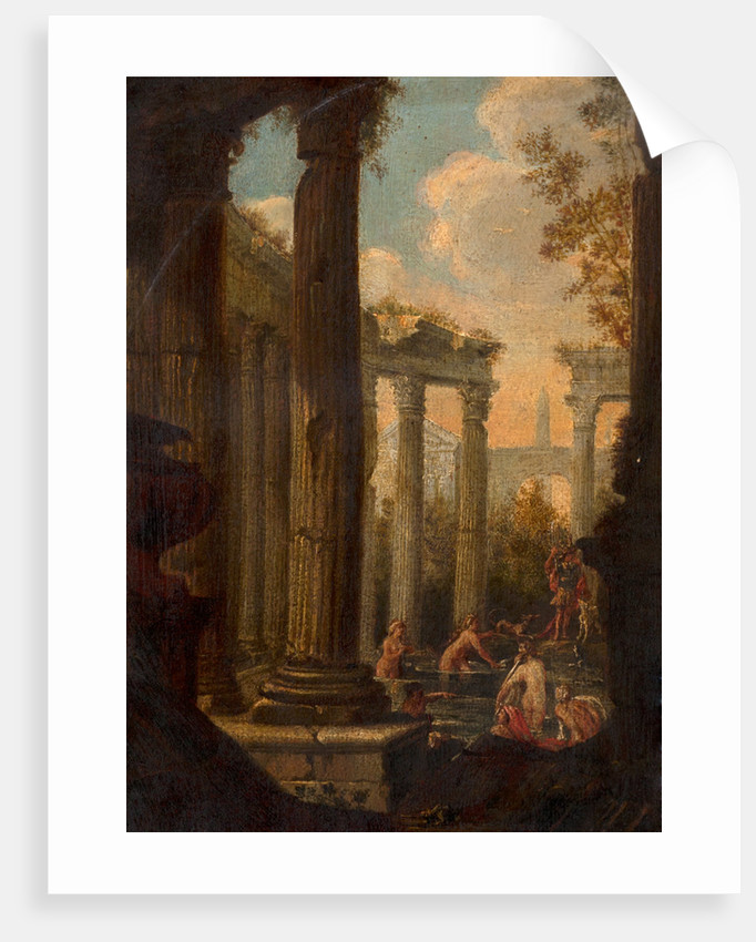 A classical Capriccio, women bathing amongest classical ruins by Charles Louis Clerisseau