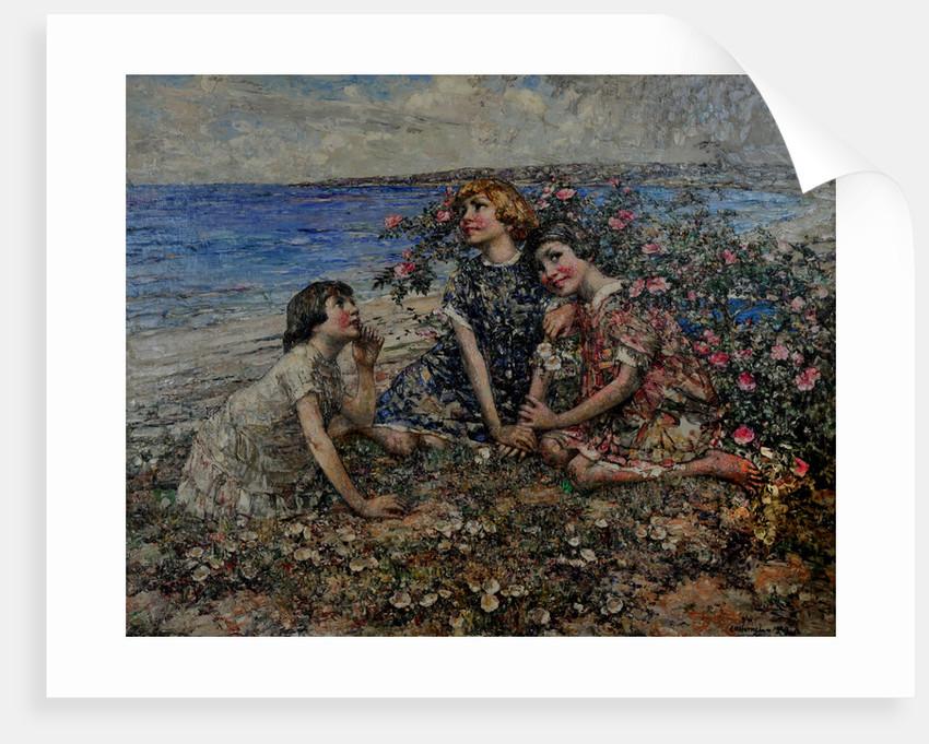 Brighouse Bay, Wild & Burnet Roses, 1929 by Edward Atkinson Hornel