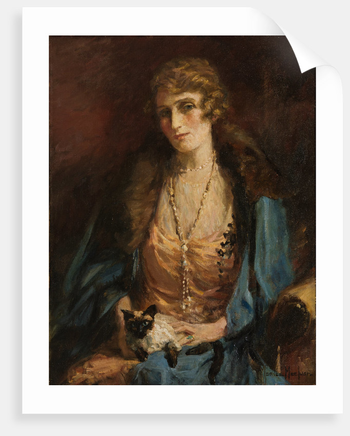 Portrait of a Lady with a Cat by Maurice Maclvor