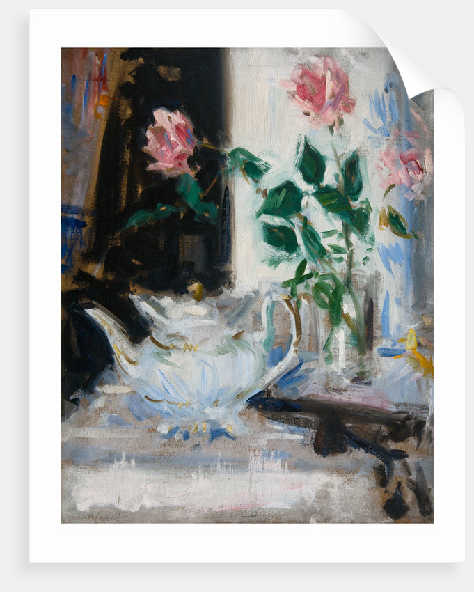 Pink Roses and Teapot by Francis Cadell