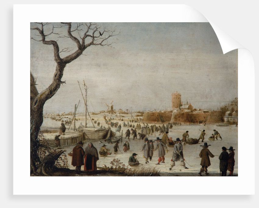 Winter Landscape with Skaters on a River Near a Walled Town by Berent Petersz Avercamp