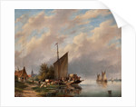 A Dutch River Scene by Gerardus Hendricks