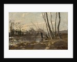 A wooded river landscape in winter by Josef Weiss