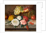 Flowers and fruit on a marble ledge, 1830 by A. M. Gautier