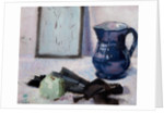 Still-life with blue jug, fan & apple by Francis Cadell