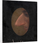 Charicature, a nose in profile through an oval spy hole, c.1850 by unknown