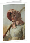 A girl with a rake over her shoulder, c.1900 by British School