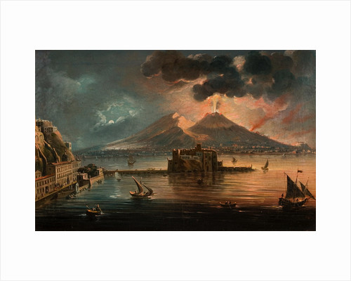 Naples at Night with Vesuvius Erupting by Pietro Antoniani