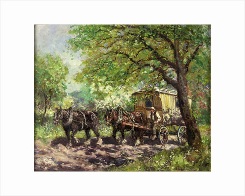 Two Horses and Caravan by John Falconar Slater
