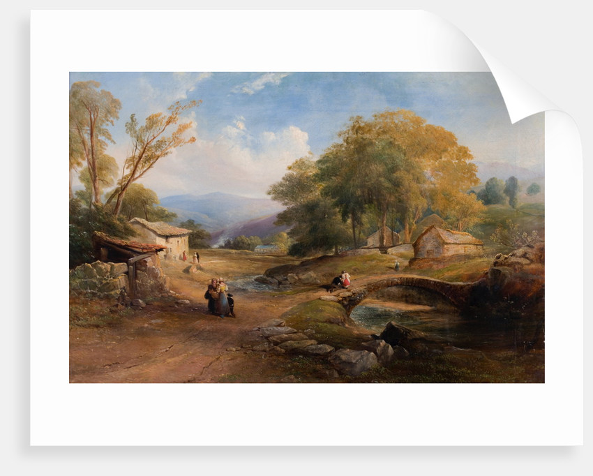 Landscape, Bridge and Figures by Thomas Miles Richardson Senior