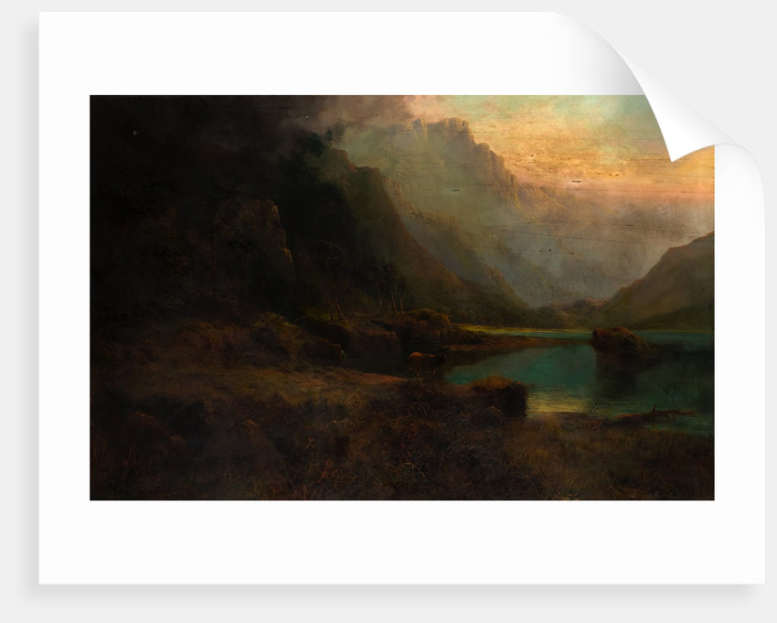 Highland Loch with Stag by Thomas Henry Gibb
