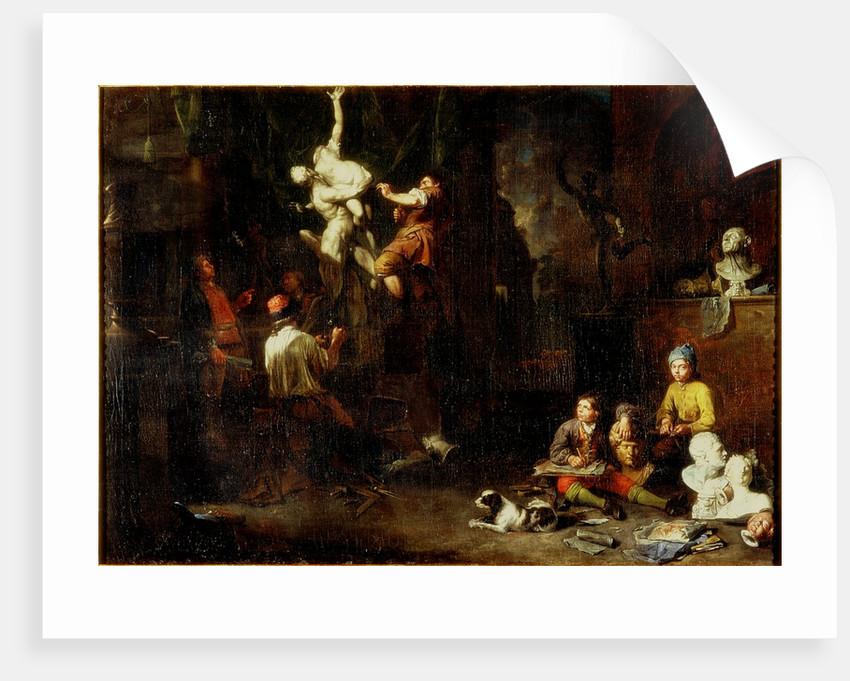 A Sculptor's Studio by Balthasar van den Bossche
