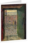 Empty cobbled street, with houses opposite, viewed through an open green wooden door by Ralph Hedley