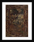 A woodland scene surrounded by a tapestry-like border by Ralph Hedley