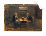 Dark interior with a man and a woman sat at a table, window in the background by Ralph Hedley