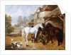 Horses in a Farmyard by John Frederick Herring Sr