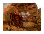 Boy with Calves and Trough by Henry Dawson