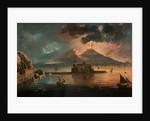 Naples at Night with Vesuvius Erupting by Pietro Antoniani