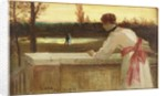 Girl on a Balcony Watching a Couple by a Lake by Philip Richard Morris