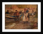 Harbour Scene with Fishermen by Robert Jobling