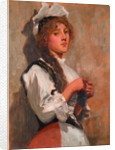 A Girl in Costume Knitting by Ralph Hedley